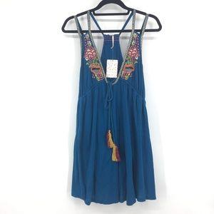 Free People Turquoise Embroidered Tassel Dress